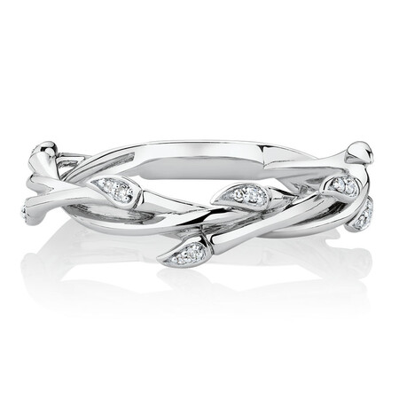 Willow Ring with Diamonds in Sterling Silver
