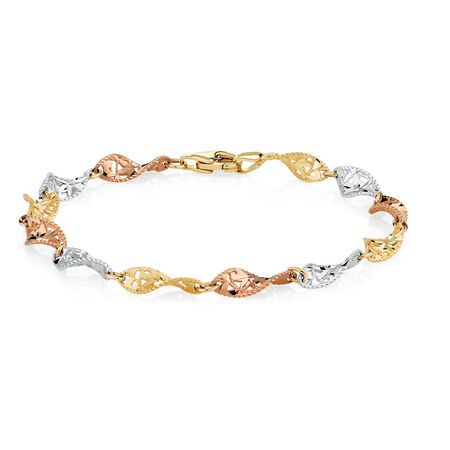 "19cm (7.5"") Twist Bracelet in 10ct Yellow, White & Rose Gold"