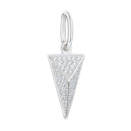Geometric Triangle Mini Pendant with Cubic Zirconia in Sterling Silver