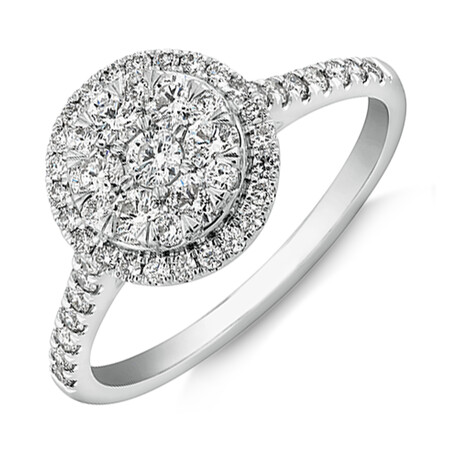 Cluster Halo Engagement Ring with 0.75 Carat TW of Diamonds in 10ct White Gold