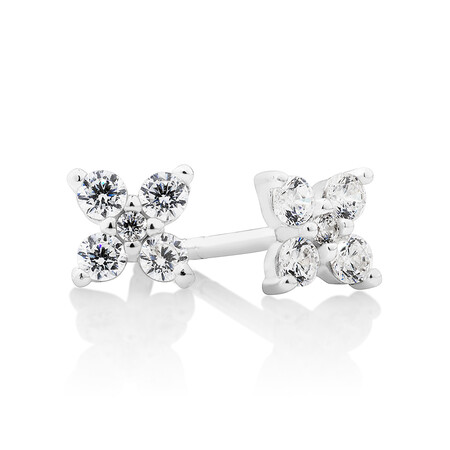 Floral Stud Earrings with Cubic Zirconia in Sterling Silver