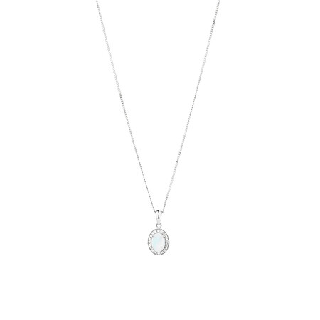 Halo Pendant with Created Opal and 0.04 TW of Diamonds in Sterling Silver