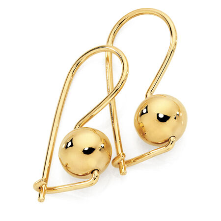 8mm Euroball Earrings in 10ct Yellow Gold