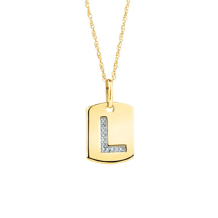 """L"" Initial Rectangular Pendant With Diamonds In 10ct Yellow Gold"