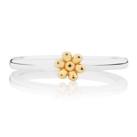 10ct Yellow Gold & Sterling Silver Daisy Stack Ring