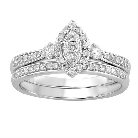Bridal Set with 0.36 Carat TW of Diamonds in 10ct White Gold