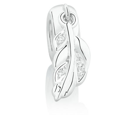 Leaf Dangle Charm with Cubic Zirconia in Sterling Silver