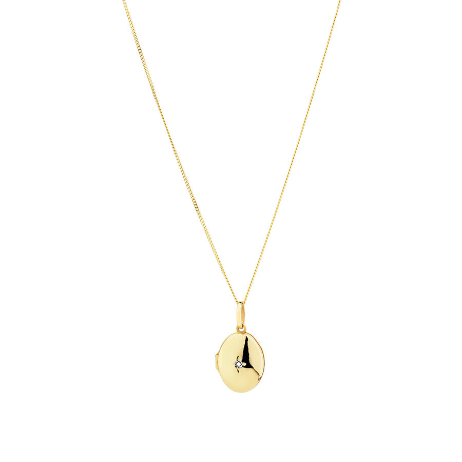 Oval diamond set Locket in 10ct Yellow Gold