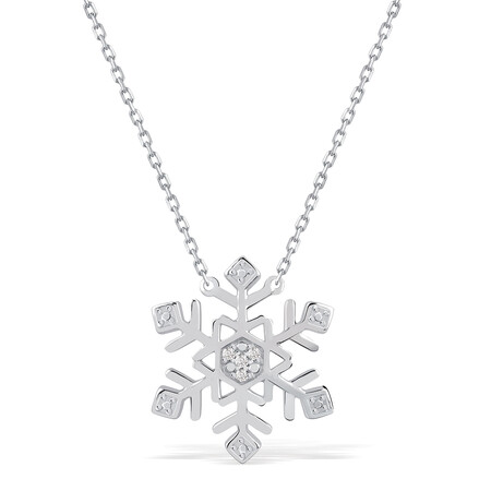 Snowflake Necklace With Diamonds In Sterling Silver