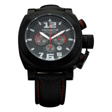 Men's Chronograph Sports Watch in Black Stainless Steel & Leather