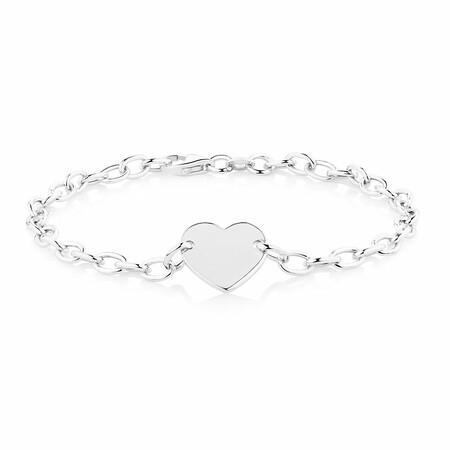 """19cm (7.5"""") Heart Disc Bracelet in Sterling Silver"""