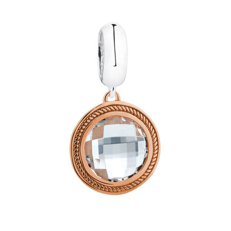 Wild Hearts Dangle Charm with Glass in 10ct Rose Gold & Sterling Silver
