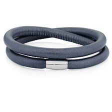 "Slate Leather 38cm (15"") Wild Hearts Double Wrap Bracelet"