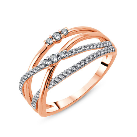 Ring with 0.27 Carat TW of Diamonds in 10ct Rose Gold