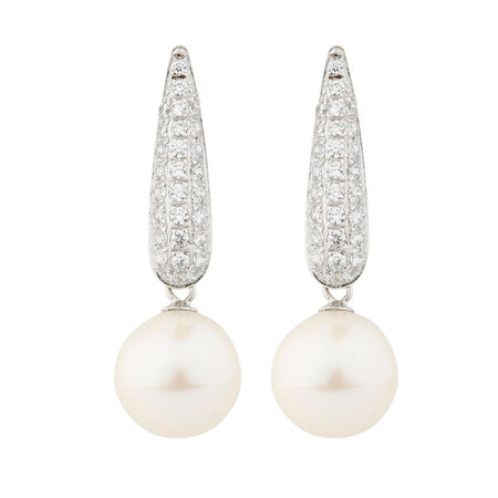 Online Exclusive - Earrings with Cultured Freshwater Pearl & Cubic Zirconia in Sterling Silver