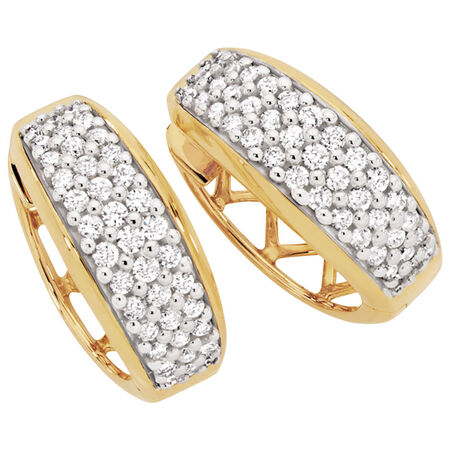 Hoop Earrings with 1/2 Carat TW of Diamonds in 14ct Yellow & White Gold