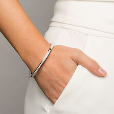 Hinged Bangle with Cubic Zirconias in Sterling Silver