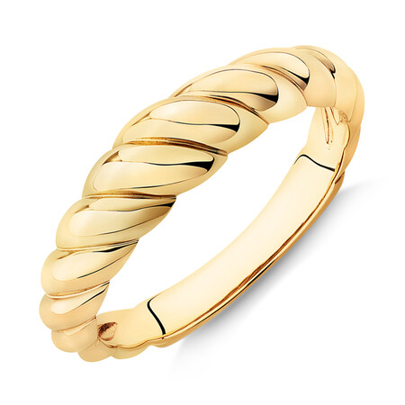 Narrow Croissant Dome Ring in 10ct Yellow Gold
