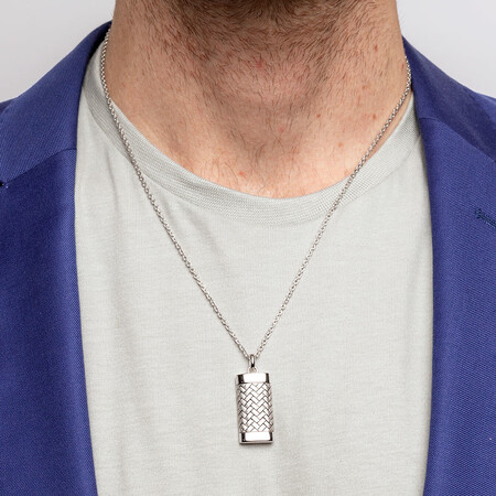 Men's Patterned Pendant In Sterling Silver