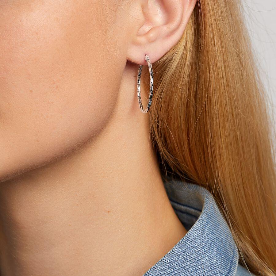 29mm Hoop Square Edge Twist Earrings In Sterling Silver