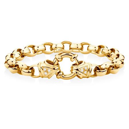 "23cm (9.5"") Diamond Set Bracelet in 10ct Yellow Gold"