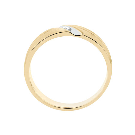 Men's Ring with Diamonds in 10ct White & Yellow Gold