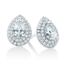 Pear Stud Earrings with Cubic Zirconia in Sterling Silver