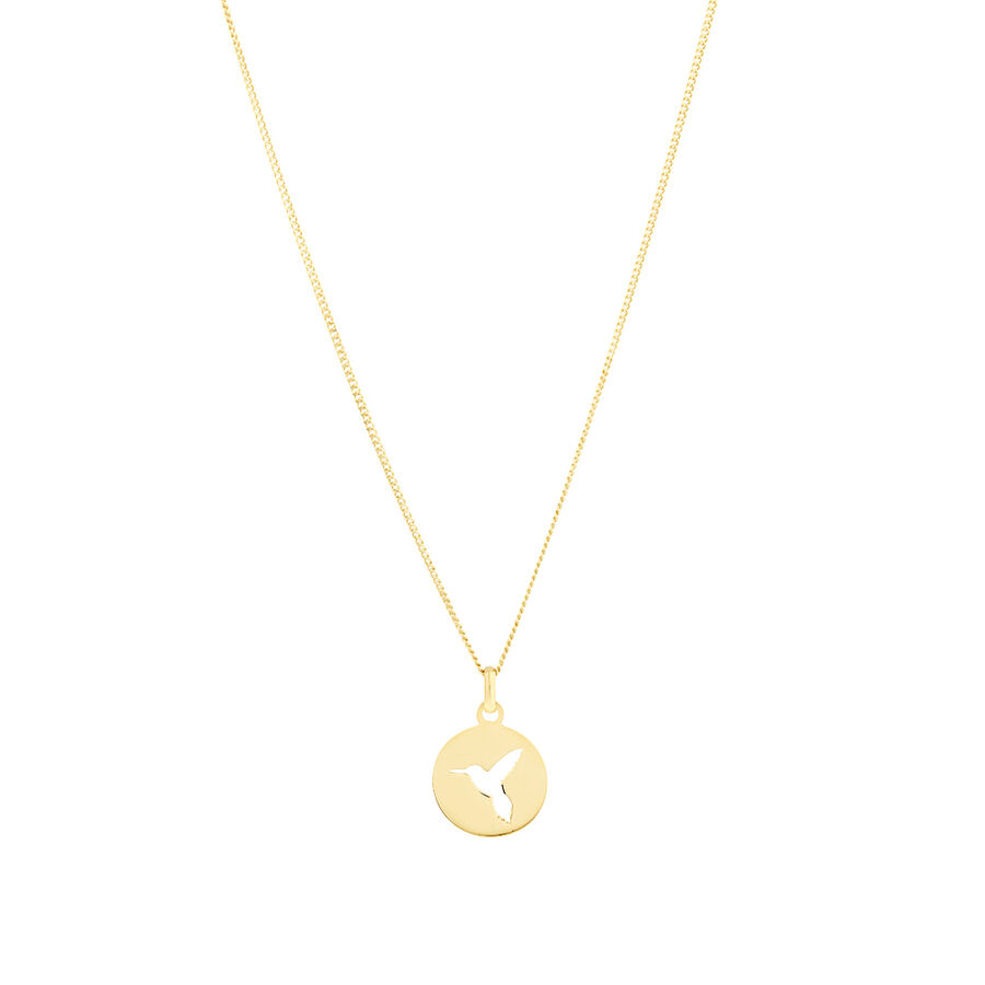 Circle Hummingbird Pendant in 10ct Yellow Gold