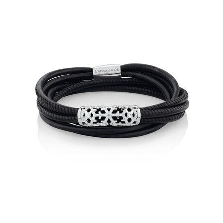 """38cm (15"""") Ready to Wear Wild Hearts Bracelet with Cubic Zirconia in Black Leather and Stainless Steel"""
