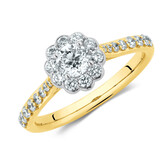 Southern Star Engagement Ring with 3/4 Carat TW of Diamonds in 14ct Yellow & White Gold