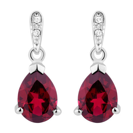Drop Earrings with Created Ruby & Diamonds in 10ct White Gold