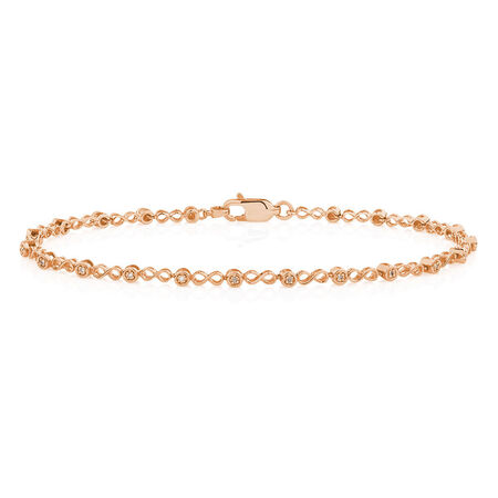 Bracelet with Diamonds in 10ct Rose Gold