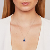 Online Exclusive - Pendant with Created Sapphire & 0.15 Carat TW of Diamonds in 10ct White Gold