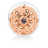 Patterned Charm with Pink Crystal in 10ct Rose Gold & Sterling Silver