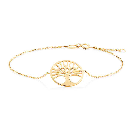"19cm (7.5"") Tree of Life Bracelet in 10ct Yellow Gold"
