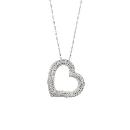 Heart Pendant with 0.16 Carat TW of Diamonds in 10ct White Gold