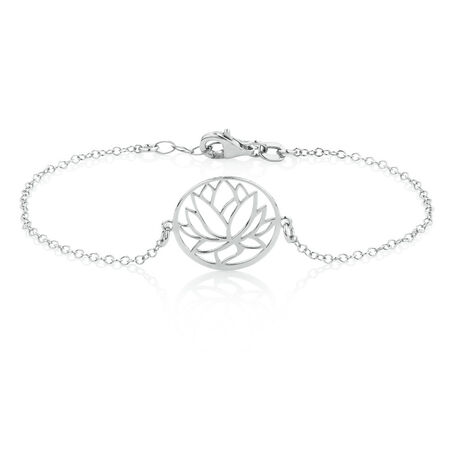 Lotus Flower Bracelet in Sterling Silver
