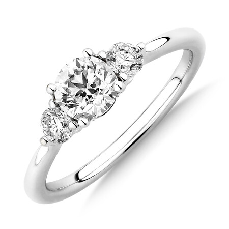 Sir Michael Hill Designer Three Stone Engagement Ring with 0.90 Carat TW of Diamonds in 18ct White Gold