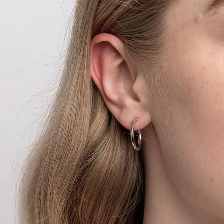18mm Twist Hoop Earrings in 10ct White Gold
