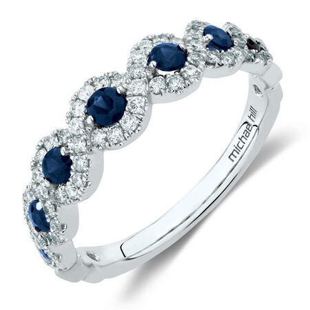 Ring with Sapphire & 0.37 Carat TW of Diamonds in 14ct White Gold