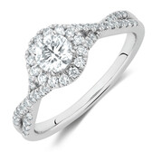 Engagement Ring with 0.70 Carat TW of Diamonds in 14ct White Gold