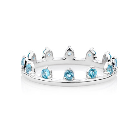 Zipper Ring with Natural Blue Topaz in Sterling Silver