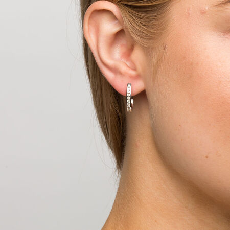 Hoop Earrings with 0.33 Carat TW of Diamonds in 10ct White Gold