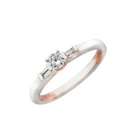 Three Stone Ring with 0.26 Carat TW of Diamonds in 10ct White & Rose Gold