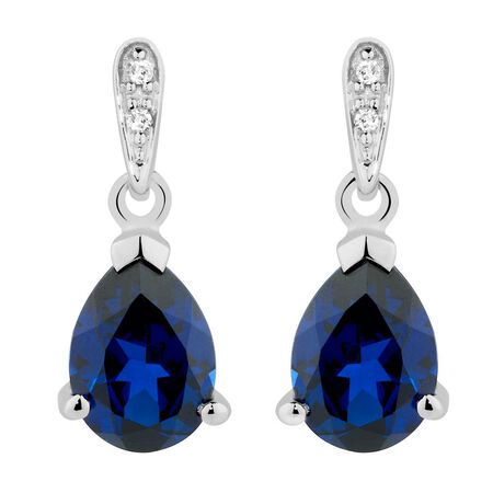 Drop Earrings with Created Sapphire & Diamonds in 10ct White Gold