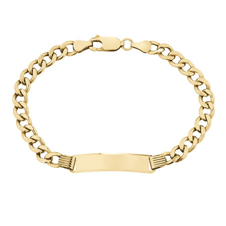 """19cm (7.5"""") Hollow Curb ID Bracelet in 10ct Yellow Gold"""