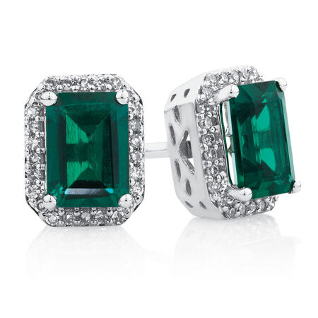 Earrings with Created Emerald & Diamonds in 10ct White Gold