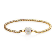 "21cm (8.5"") Charm Bracelet with 0.53 Carat TW of Diamonds in 10ct Yellow Gold"
