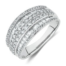Six Row Ring with 1 Carat TW of Diamonds in 10ct White Gold