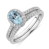 Bridal Set with 0.50 Carat TW of Diamonds & Aquamarine in 14ct White Gold